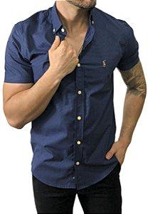 Camisa Ralph Lauren Micro-Xadrez Azul Marinho