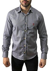 Camisa Ralph Lauren Micro-Xadrez Azul/Whisky