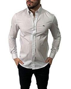 Camisa Lacoste Quadriculada Branca/Cinza