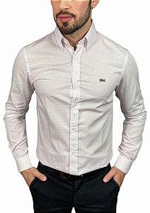 Camisa Lacoste Quadriculada Branca/Rosa