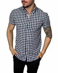 Camisa Ralph Lauren Linho Xadrez Azul Mescla