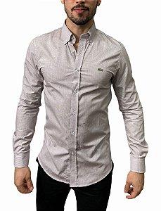Camisa Lacoste Quadriculada Branca Cinza