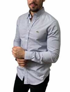 Camisa Lacoste Quadriculada Branca Azul