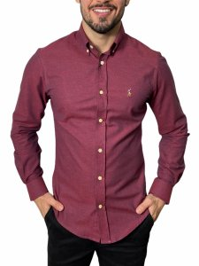 Camisa Ralph Lauren Oxford Bordô Mescla