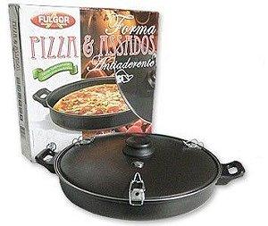 Forma para Pizza e Assados Antiaderente com Tampa