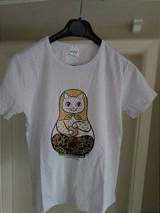 Camiseta Gatrioska Babylook Branca