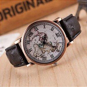 Relógio Viajante Vintage Preto