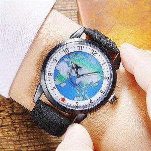 Relógio Mapa Mundi Avião - Destinos e Sonhos - Blue Black 2