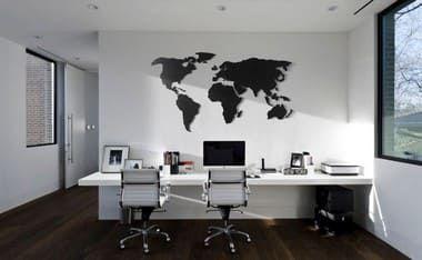 Mapa Mundi Parede MDF Preto