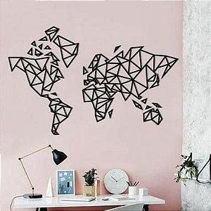 Mapa Mundi Madeira MDF Parede - World Traveler