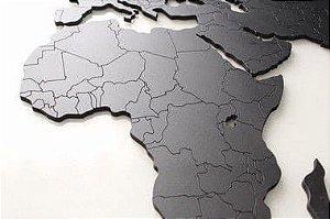 Mapa Mundi MDF Fronteiras Black