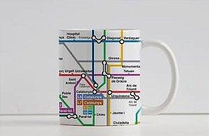 Caneca Coleção Embarque pelo Mundo - Metrô Barcelona