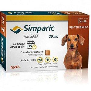 Simparic 20mg Cães de 5,1 a 10 kg Comprimido Mastigavel