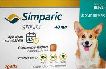 Simparic 40mg Cães de 10,1 a 20 kg Comprimido Mastigavel