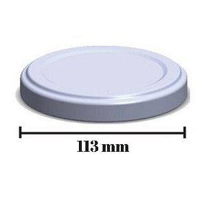 Tampa Branca Esmaltada Para Vidro De Conserva 113mm - C/ 50 un