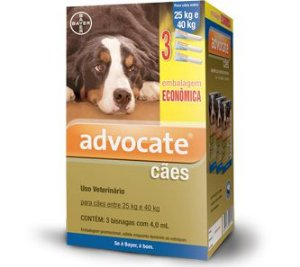 Antipulgas Bayer Advocate Cães 4,0 ml 25 a 40kg Combo Leve 3 Pague 2