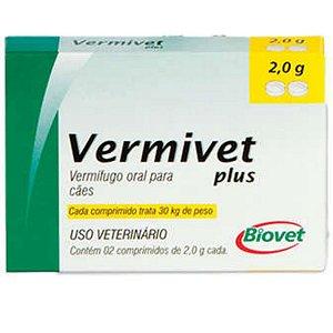 Vermífugo Para Cães Vermivet Plus 2,0 30kg - Caixa 2 Comprimidos