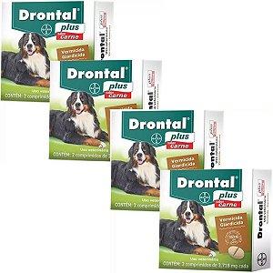 Vermífugo Bayer Drontal Plus Cães 35kg Sabor Carne - Kit 4 Caixas