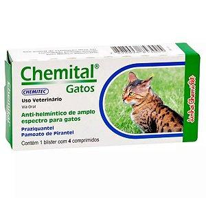 Vermífugo Para Gatos Chemital Gatos - Caixa c/ 4 Comprimidos