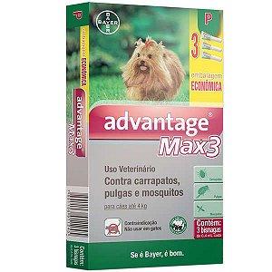 Advantage Max3 Cães Bayer 0,4ml Até 4 kg Combo Leve 3 Pague 2