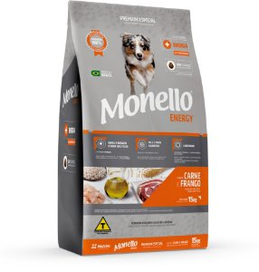 Ração Monello Dog Energy Carne e Frango para Cães Adultos Raças Médias e Grandes - 15Kg