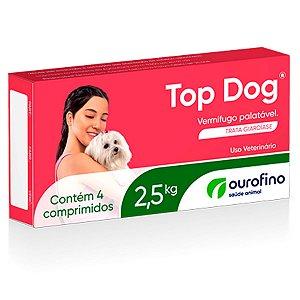 Vermífugo Para Cães Top Dog Ourofino 30 kg - Caixa 4 Comprimidos