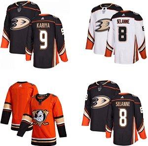 Camisa Anaheim Mighty Ducks - 8 Teemu Selanne - 9 Paul Kariya - 96 Charlie Conway - 99 Adam Banks