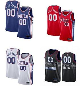 Camisa jersey - Philadelphia 76ers - Joel Embiid #21 - Allen Iverson #3 - Ben Simmons #25 - com personalização de nome e número