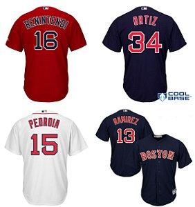 Camisa Boston Red Sox - 28 JD Martinez - 34 David Ortiz - 16 Andrew Benintendi - 15 Dustin Pedroia - 13 Hanley Ramirez