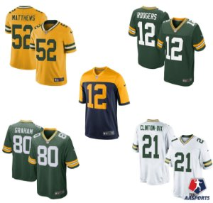 Camisa Green Bay Packers - 12 Rodgers - 52 Matthews - 80 Graham - 18 Cobb - 21 Clinton-Dix - 23 Jaire Alexander