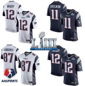 Camisa New England Patriots - 12 Brady - 92 Harrison - 28 White - 26 Sony Michel - 87 Gronkowski - 11 Edelman - 13 Dorsette - 15 Hogan