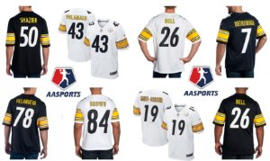 Camisa - Pittsburgh Steelers - 43 Polamalu - 81 James - 84 Brown - 78 Villanueva - 50 Shazier - 26 Bell - 19 Smith-Schuster - 12 Bradshaw - 28 Washington - 22 Edmunds - 7 Roethlisberger