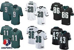 Camisa Philadelphia Eagles - 11 Carson Wentz - 17 Alshon Jeffery  - 20 Brian Dawkins - 36 Jay Ajayi - 43 Darren Sproles - 86 Zach Ertz  - 91 Fletcher Cox
