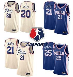 Camisa Philadelphia 76ers - 21 Joel Embiid - 20 Markelle Fultz - 25 Ben Simmons - 23 Jimmy Butler