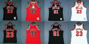Camisa Chicago Bulls - Mitchell & Ness - 33 Scottie Pippen - 91 Dennis Rodman - 23 Michael Jordan