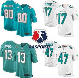 Camisa Miami Dolphins  - 80 Danny Amendola - 91 Cameron Wake - 47 Kiko Alonso - 17 Ryan Tannehill - 13 Dan Marino
