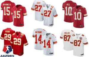 Camisa Kansas City Chiefs - 10 Hill - 14 Watkins - 29 Berry - 87 Kelce - 15 Mahomes
