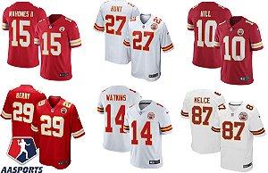 Camisa Kansas City Chiefs - 10 Hill - 14 Watkins - 27 Hunt - 29 Berry - 87 Kelce - 15 Mahomes