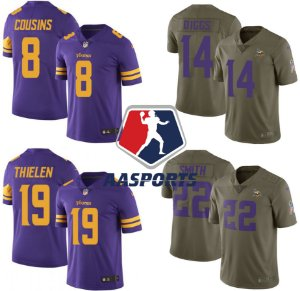 Camisa Minnesota Vikings - Color Rush e Salute to Service - 8 Cousins - 14 Diggs - 19 Thielen - 22 Smith - 33 Cook - 82 Rudolph