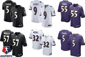 Camisa Baltimore Ravens - 5 joe flacco - 32 Eric Weddle - 55 Terrell Suggs - 57 C.J. Mosley - 9 Justin Tucker - 8 Lamar Jackson - 52 Ray Lewis