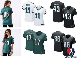 Camisa Philadelphia Eagles - 11 Wentz - 17 Jeffery  - 43 Sproles - 86 Ertz - FEMININA