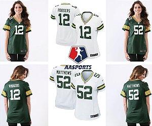 Camisa Green Bay Packers - 12 Rodgers - 52 Matthews - 80 Graham - FEMININA