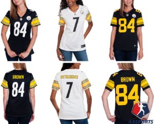 Camisa - Pittsburgh Steelers - 7 Ben Roethlisberger - 84 Antonio Brown - FEMININA