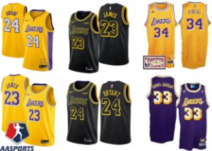 Camisa los Angeles lakers - 23 LeBron James - 24  kobe bryant - 32 Magic Johnson - 33 Kareem Abdul-Jabbar - 34 Shaquille O'Neal