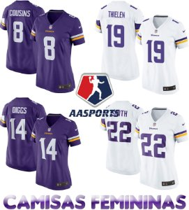 Camisa Minnesota Vikings - 8 Cousins - 14 Diggs - 19 Thielen - 22 Smith - FEMININA