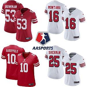 Camisa San Francisco 49ers - 10 Garoppolo - 16 Montana - 25 Sherman - 53 Bowman - FEMININA