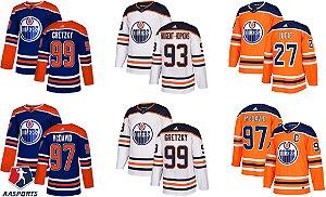 Camisa Edmonton Oilers - 27 Milan Lucic - 93 Ryan Nugent-Hopkins - 97 Connor McDavid - 99 Wayne Gretzky