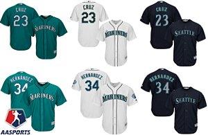 Camisa Seattle Mariners - 34 Felix Hernandez - 23 Nelson Cruz - 51 Ichiro Suzuki
