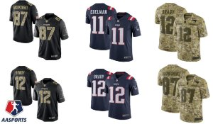 Camisa New England Patriots - 12 Tom Brady - 87 Rob Gronkowski - 11 Julian Edelman - Salute to Service - Color Rush