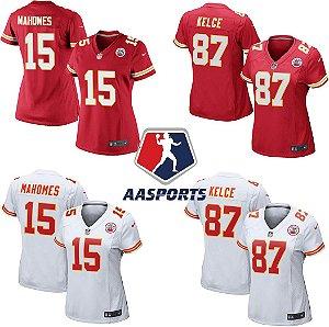 Camisa Kansas City Chiefs - 15 Patrick Mahomes - 87 Travis Kelce - FEMININA